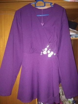 Purple Top kurung breast feeding kimono M