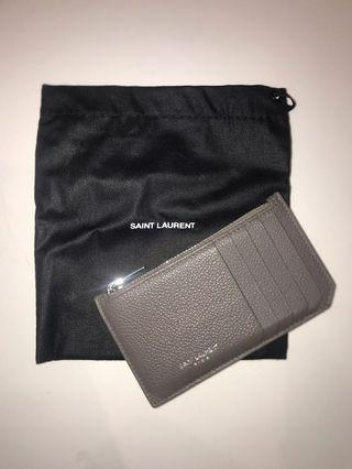 YSL Saint Laurent Fragments Zipped Card Case in Grained Leather Card Holder Luxury Designer