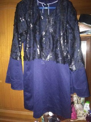 Kurung raya lace sequins navy blue xl (sepasang)