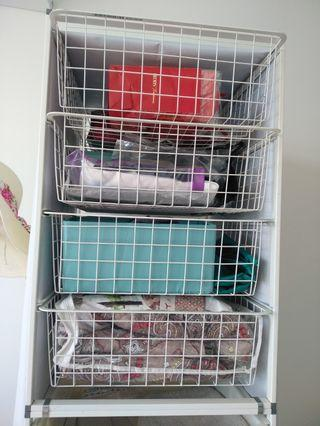 Shelves with metal pull out baskets