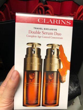 〈有現貨〉🤩皇牌Clarins Double Serum 賦活雙精華 Travel Set 50ml x2  專櫃已升價 (專櫃價$1510, 內部價$1375),100%專櫃正貨,有單據相片及批號參考