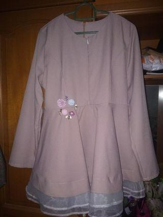 Peplum breastfeeding kurung top free size s,m,l
