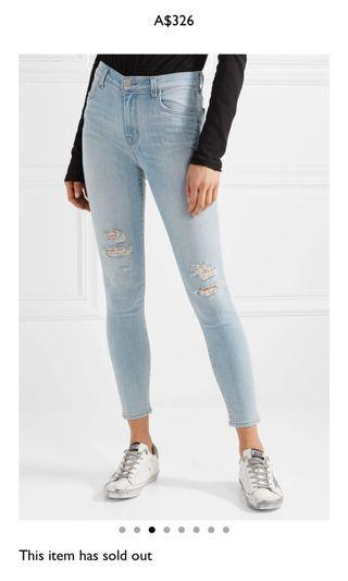 J Brand Alana high rise cropped distressed jeans 27