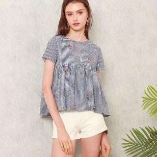 Anticlockwise ACW Gingham Embroidery Babydoll Top in Navy