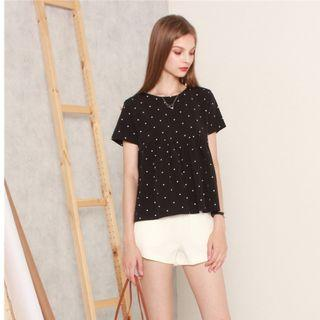 Anticlockwise ACW Babydoll Sleeved Top in Polka Dot