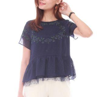 Anticlockwise ACW Embroidered Mesh Peplum Top in Navy