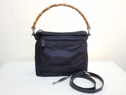 8a0f25957d3660 AUTHENTIC GUCCI VINTAGE NYLON PARANA BAMBOO HANDLE HOBO / SLING BAG