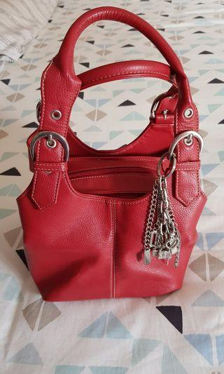ForeverNew Red leather square box handbag