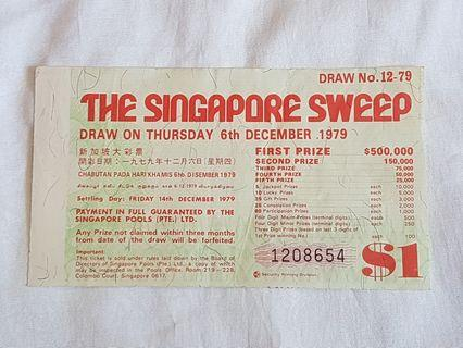 The Singapore Sweep Ticket 6th December 1979