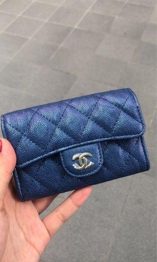Chanel Wallet Card Holder Flap 19S Iridescent Blue