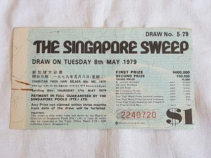 The Singapore Sweep Ticket 8th May 1979
