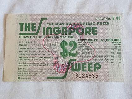 The Singapore Sweep Ticket 5th May 1983