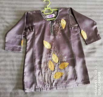 Baju Kurung Daun Emas for kids