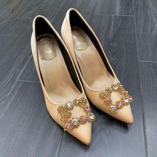 8cm 香檳色高跟鞋 champagne gold heels