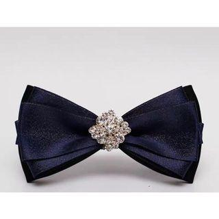 Bow tie with glitter in Navy, Swarovski crystals