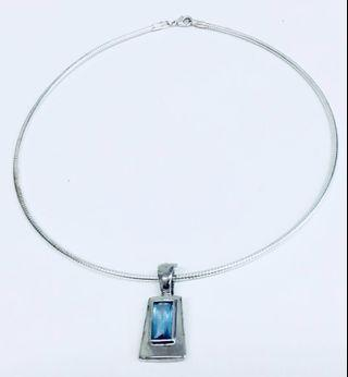Emma Page Silver Choker with Blue Topaz Pendant