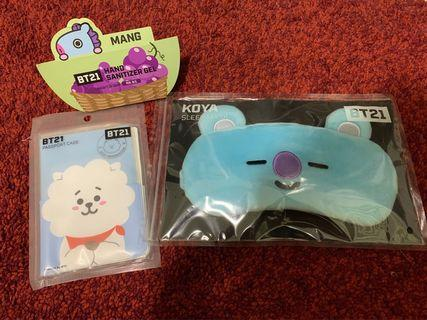 Bt21 eye mask, hand sanitizer and passport cover