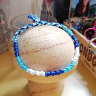 深藍淺藍白 扭紋手繩腳繩