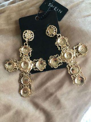 Large gold cross earrings
