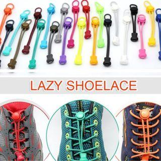 Readystock Hot 2x Elastic No-Tie Locking Shoelaces Shoe Laces With Buckles For Sport Shoes [black / white]