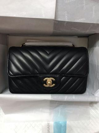 全新 Chanel mini coco 20 黑霧金