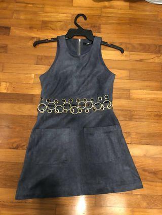 Sleeveless Velvet Dress (Dark Grey)