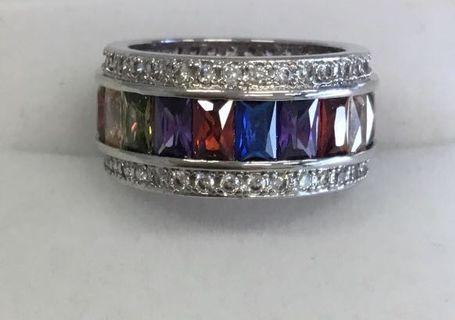 Multi Gemstone Ring Silver Statement Ring