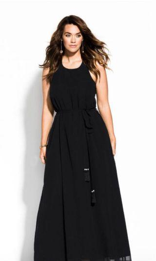 City Chic Black Maxi Dress Size 16