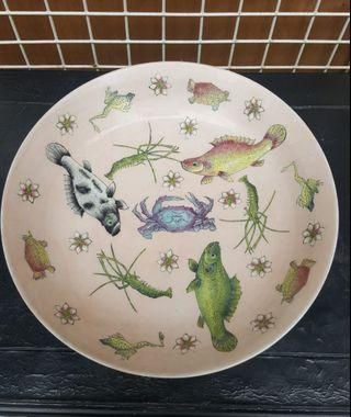 A very vintage & rare large plate with pretty hand printed sea animals.