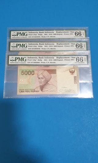2001/2016, INDONESIA 5000 RUPIAH X 3, CONSECUTIVE REPLACEMENT, PMG 66EPQ