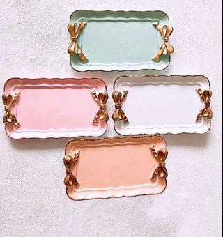 Ribbon Trinket Tray (Peach colour)