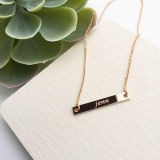 Personalised Minimalist Style Name Bar Necklaces