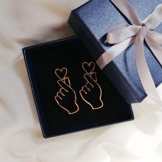 Korean Finger Heart Earrings