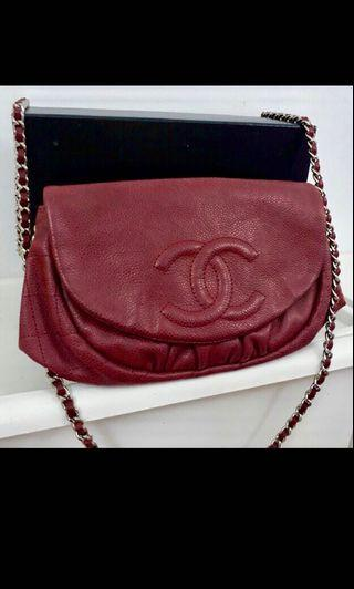 Authentic Chanel Halfmoon sling maroon color