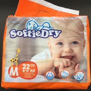 SoftieDry M Size (22pcs) x 4 Packs Diapers