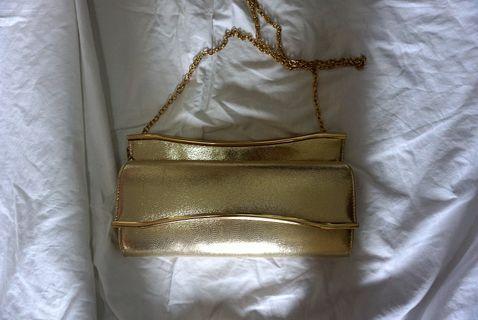 Zalora Gold Clutch with Detachable Chain