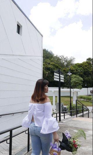 Zara White Off Shoulder Top