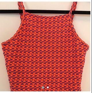 Topshop crop neon orange and purple print