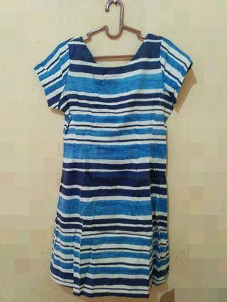 Mididress garis2 biru