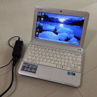 "10""inch White MSI Laptop N280 2gb RAM 250gb HDD / English Windows / MS Office Words Excel PowerPoint / Wifi / Webcam Battery and Charger"