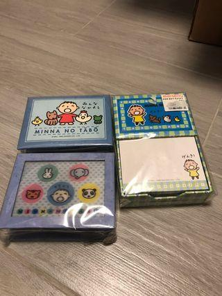 MINNA NO TABO Memo box 大口仔便條紙盒3盒