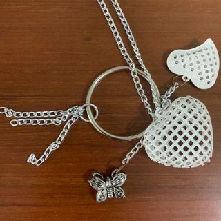 White hearts n  butterfly necklace