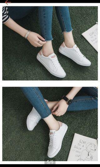 🚚 混真皮 柔軟小白鞋