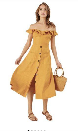 Seoul In Love Layla off shoulder Dress mustard