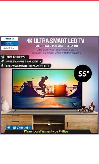 Philips TV 4K Ultra HD Slim SMART LED 55 inch with Quad Core 55PUT6103/98