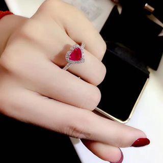 18k紅寶石鑽石戒指 GIA証