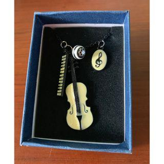 Violin piano keyboard n G clef necklace