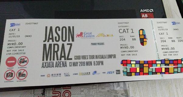 Jason Mraz 'Good Vibes' CAT 1 (Two tix for RM800)