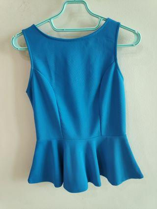 Blue Peplum sleeveless Top