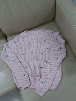 6ixty 8ight Pink Knit Fox Sweater pullover embroidery